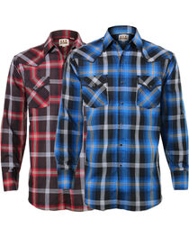 Ely Cattleman Men's Assorted Plaid Piping Long Sleeve Shirt, , hi-res