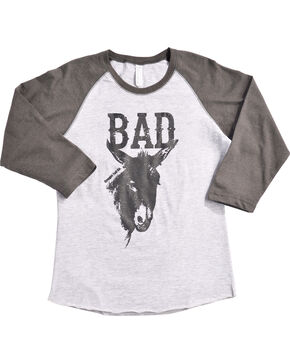 Cowgirl Tuff Women's Bad Donkey Baseball Tee, Grey, hi-res