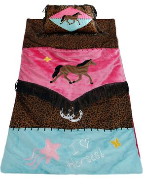 Kids' Cowgirl Leopard Print Sleeping Bag, Brown, hi-res