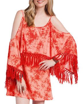 Rancho Estancia Women's Tie-Dye Flutter Sleeve Dress, Coral, hi-res