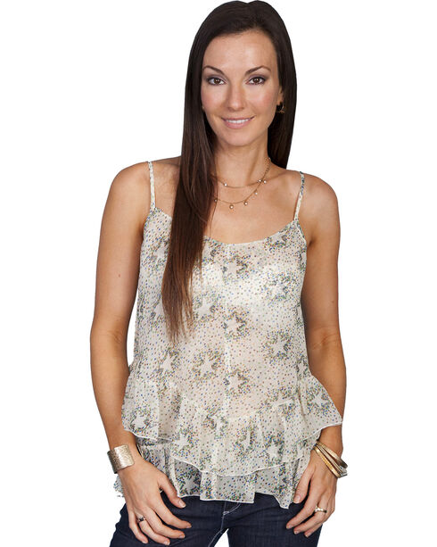 Scully Women's Sheer Star Tank Top, Natural, hi-res