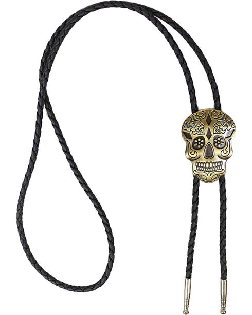 Cody James® Bronze Day Of the Dead Bolo Tie, Gold, hi-res
