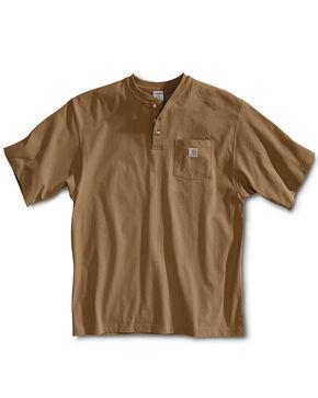 Carhartt Short Sleeve Henley Work Shirt, Brown, hi-res