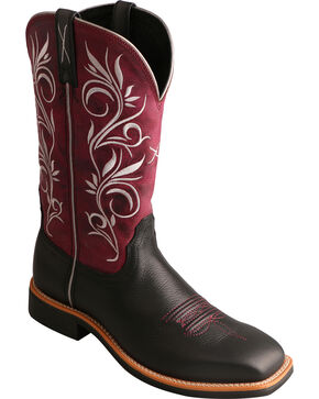 Twisted X Maroon Top Hand Cowgirl Boots - Square Toe , Black, hi-res