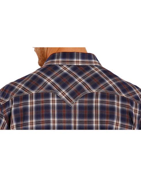 Rock & Roll Cowboy Men's Navy Plaid Long Sleeve Shirt, Plaid, hi-res