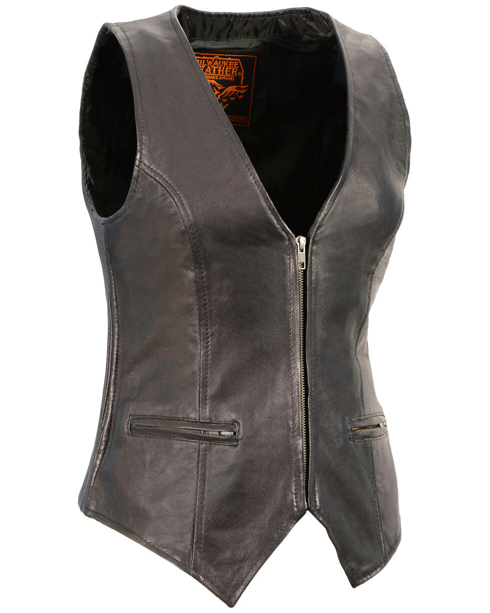 Milwaukee Leather Women's Black Lightweight Front Zipper Conceal Carry Vest - 3X , Black, hi-res