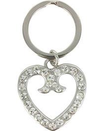Shyanne® Silver Rhinestone Heart Keychain, , hi-res