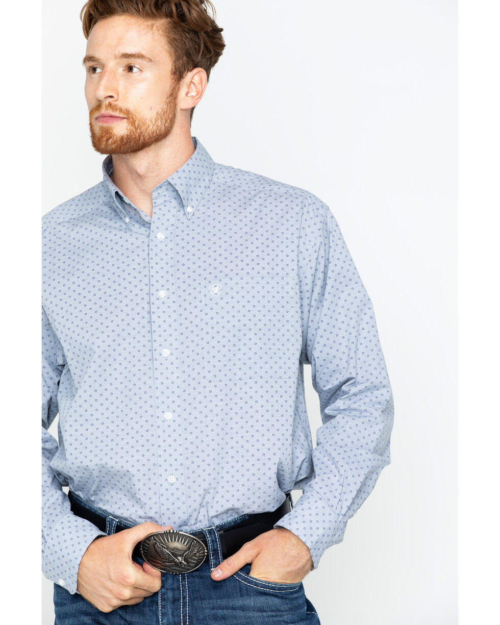 Ariat Men's Blue Durham Print Western Shirt , Blue, hi-res