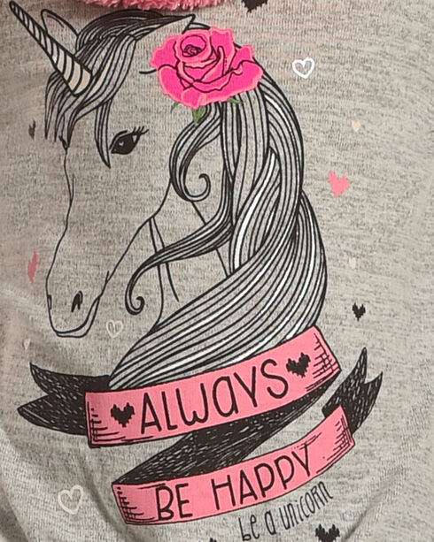 Self Esteem Girls' Always Be Happy Unicorn Tee and Furry Scarf Set, Grey, hi-res