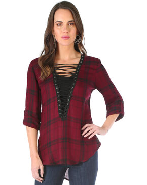 Wrangler Women's Burgundy Lace-Up Neck Top , Burgundy, hi-res