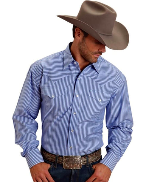 Stetson Men's Blue Two Pocket Striped Western Snap Shirt, Blue, hi-res