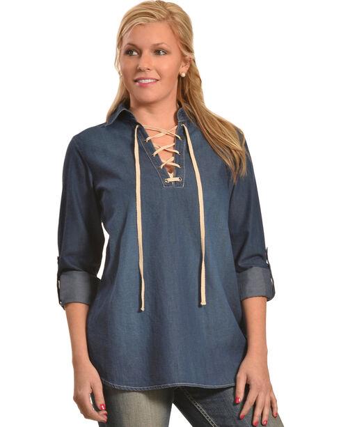 New Direction Women's Moleskin Lace-Front Denim Shirt , Indigo, hi-res