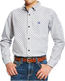 Ariat Boys' White Burton Print Western Shirt , , hi-res