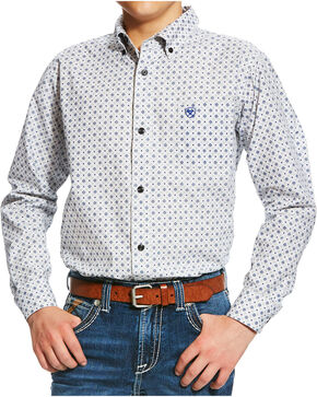 Ariat Boys' White Burton Print Western Shirt , Multi, hi-res