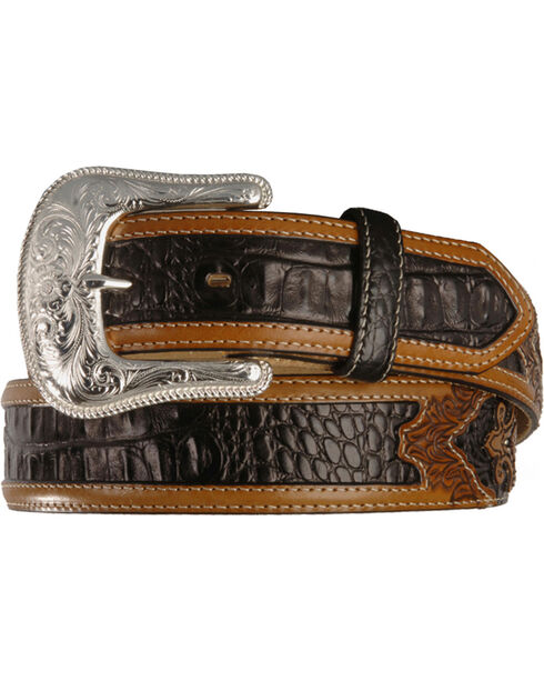 Tony Lama Men's Southern Caiman Underlay Belt, Black, hi-res
