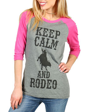 "Bohemian Cowgirl Women's ""Keep Calm and Rodeo"" Long Sleeve Baseball Tee, Grey, hi-res"