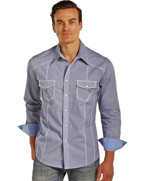 Rock & Roll Cowboy Men's Geometric Print Long Sleeve Snap Shirt, Blue, hi-res