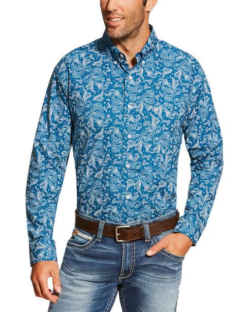 Ariat Men's Printed Long Sleeve Shirt, Teal, hi-res