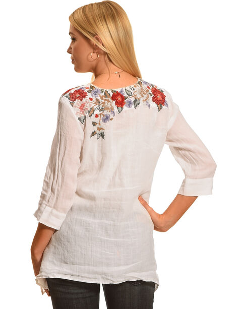 Johnny Was Women's White Cecily Asymmetrical Tunic , White, hi-res