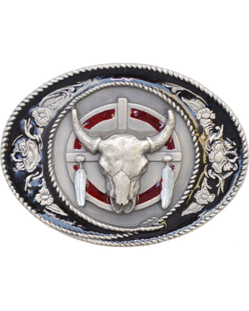 Western Express Men's Silver Buffalo Skull Belt Buckle , Silver, hi-res