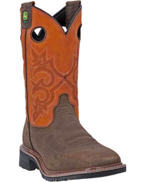 John Deere®  Men's Square Toe Western Work Boots, Brown, hi-res
