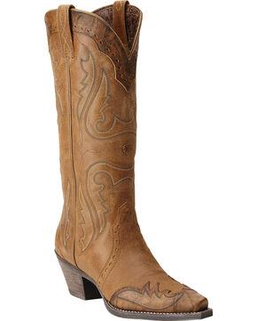 Ariat Women's Heritage Western X Toe Wingtip Western Boots, Tan, hi-res