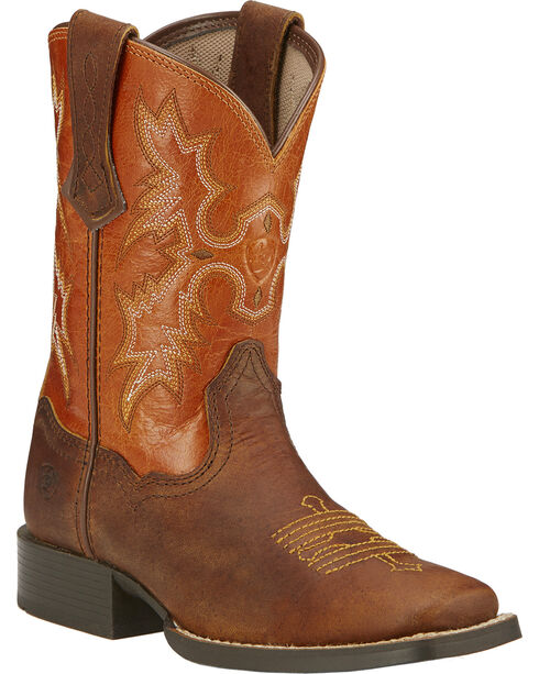 Ariat Boys' Tombstone Cowboy Boots - Square Toe, Brown, hi-res