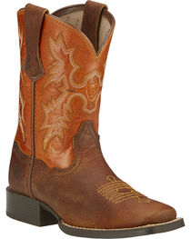 Ariat Kid's Tombstone Square Toe Western Boots, , hi-res