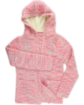 Shyanne Girls' Eyelash Cardigan Sweater, Pink, hi-res
