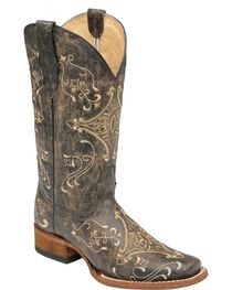 Circle G Women's Diamond Embroidered Western Boots, , hi-res
