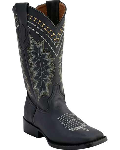 Ferrini Women's Black Navajo Western Boots - Square Toe , Black, hi-res