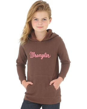 Wrangler Girls' Hoodie with Wrangler Logo, Brown, hi-res