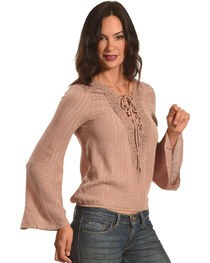 HYFVE Women's Lace-Up Cinched Long Sleeve Top, , hi-res