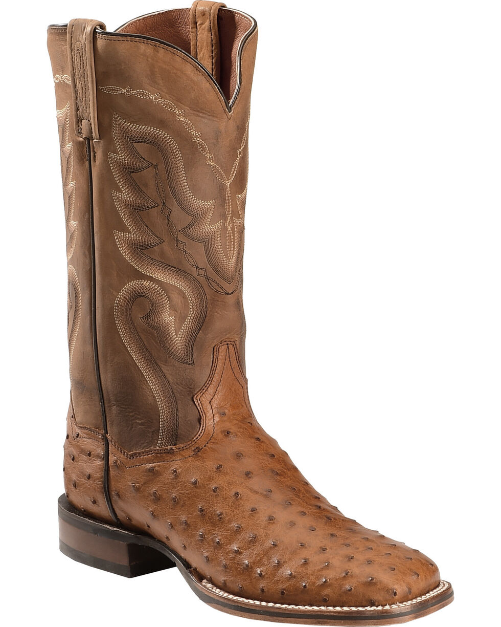 Dan Post Men's Cowboy Certified Full Quill Ostrich, Saddle Brown, hi-res