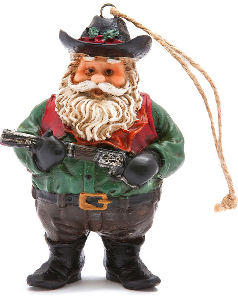 BB Ranch Cowboy Santa with Rifle Ornament, No Color, hi-res