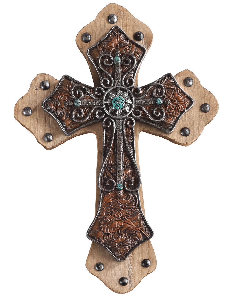BB Ranch Embossed Leather Wall Cross, No Color, hi-res