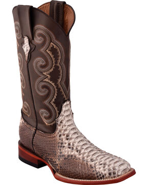 Ferrini Men's Python Cigar Cowboy Boots - Square Toe, Brown, hi-res
