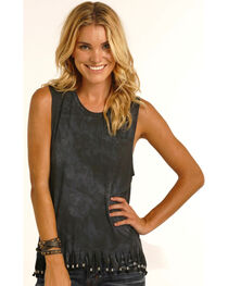 Rock & Roll Cowgirl Women's Black Beaded Fringe Muscle Tank , , hi-res