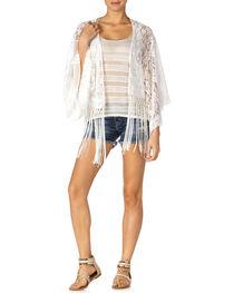 Miss Me White Crochet Fringe Kimono, , hi-res