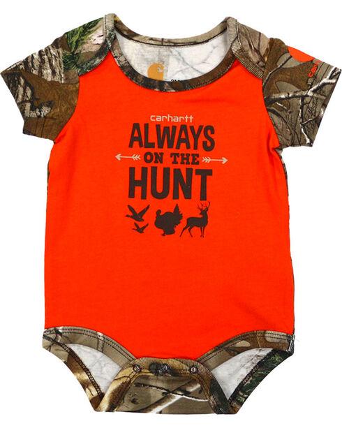 "Carhartt Infant Boy's ""Always On The Hunt"" Onesie, Orange, hi-res"