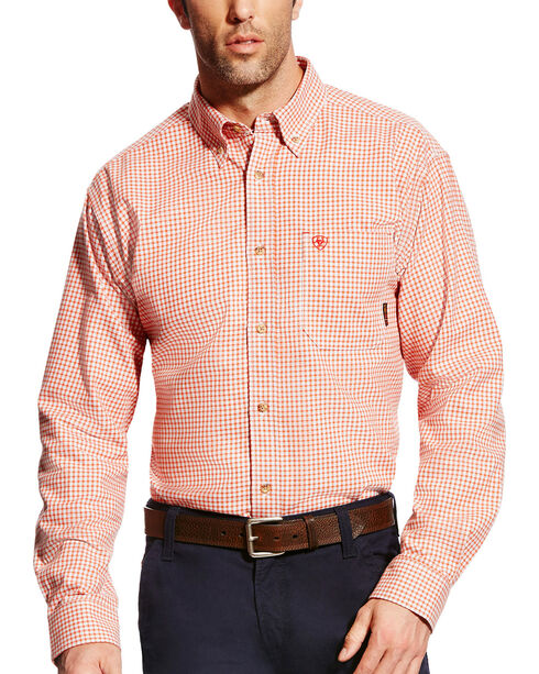 Ariat Men's FR Logan Long Sleeve Work Shirt - Big & Tall, Red, hi-res