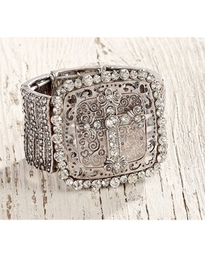 Shyanne Women's Large Cross Silver Stretch Bracelet , Silver, hi-res