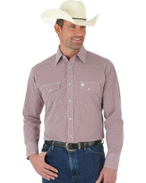 Wrangler George Strait Red and White Poplin Snap Shirt, , hi-res