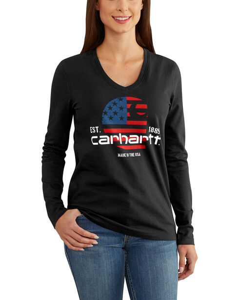 Carhartt Women's American Flag Screen Print Long Sleeve T-Shirt, Black, hi-res