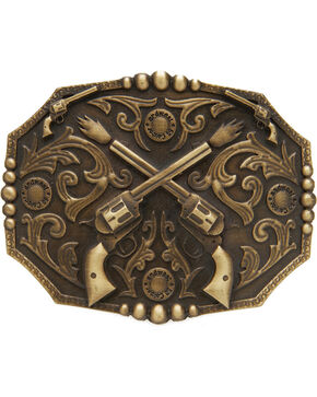 AndWest Men's Dueling Pistols Belt Buckle, Brass, hi-res