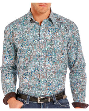 Rough Stock Men's Floral Paisley Printed Long Sleeve Shirt, Blue, hi-res