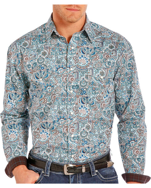 Rough Stock Men's Floral Paisley Printed Long Sleeve Shirt, Blue, hi-res