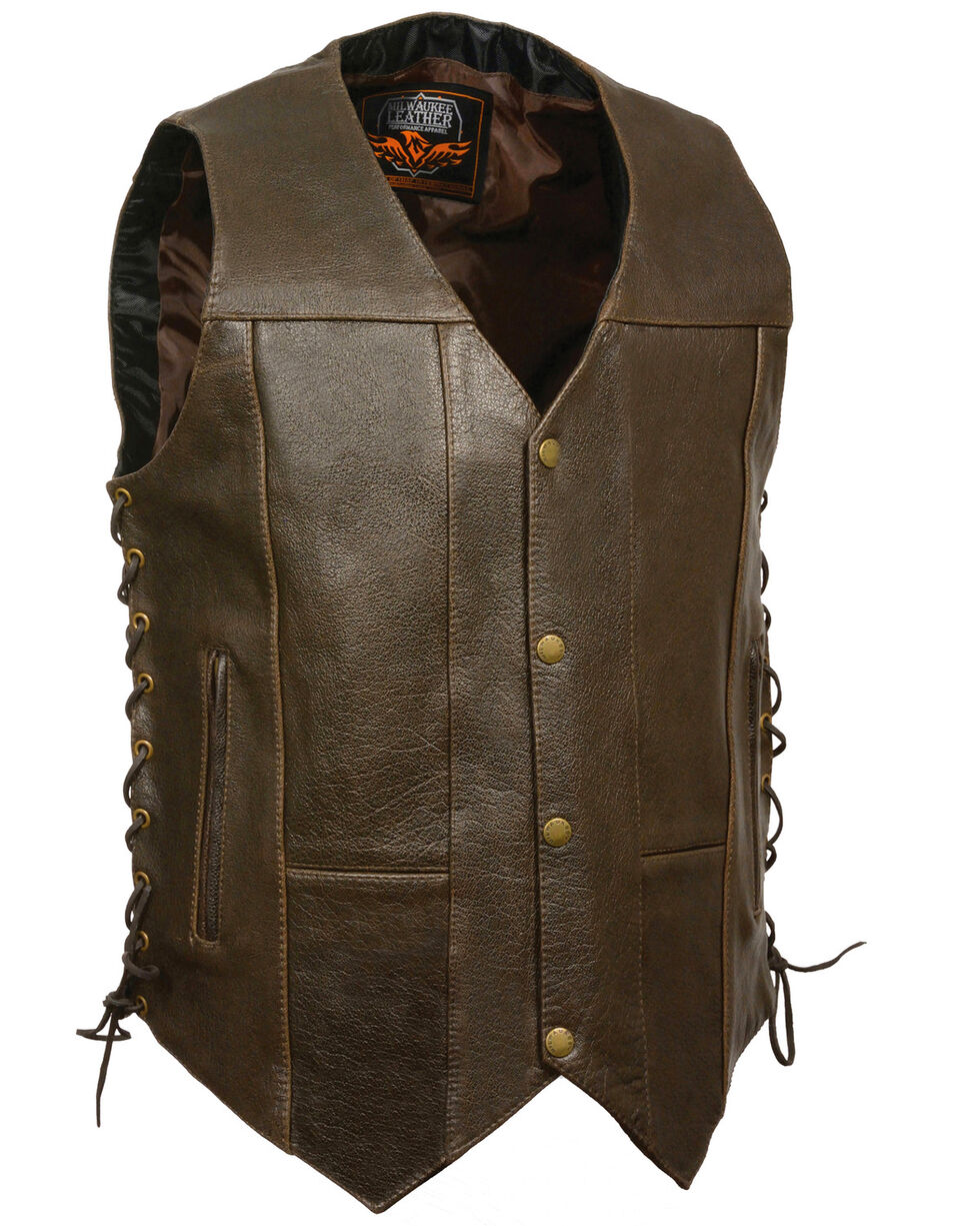 Milwaukee Leather Men's Retro Brown 10 Pocket Side Lace Vest - XBig, Brown, hi-res