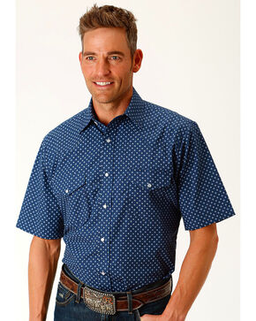 Roper Men's Star Print Short Sleeve Western Snap Shit, Navy, hi-res