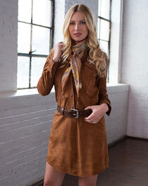Ryan Michael Women's Tan Leather Whip Stitch Dress , Tan, hi-res